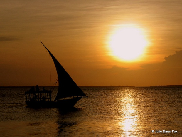 Sunset and boat, Zanzibar