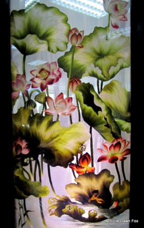 Lotus flowers, silk embroidered picture, Vietnam