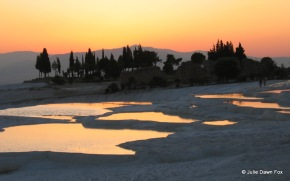 Sulphur pools and sunset, Pamukkale, Turkey